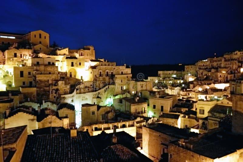 miasta Matera nigth s widok obraz royalty free