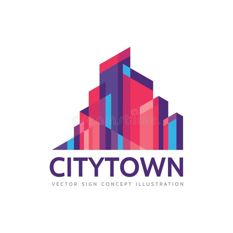 Miasta miasteczko - nieruchomość loga szablonu pojęcia ilustracja Abstrakcjonistyczny budynku pejzażu miejskiego znak Drapacz chm ilustracji