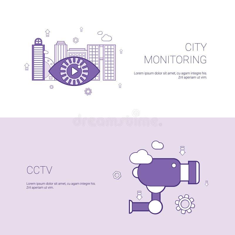 Miasta monitorowanie I CCTV pojęcie szablonu sieci sztandar Z kopii przestrzenią ilustracja wektor