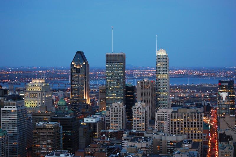 miasta Montreal linia horyzontu zmierzch obraz royalty free