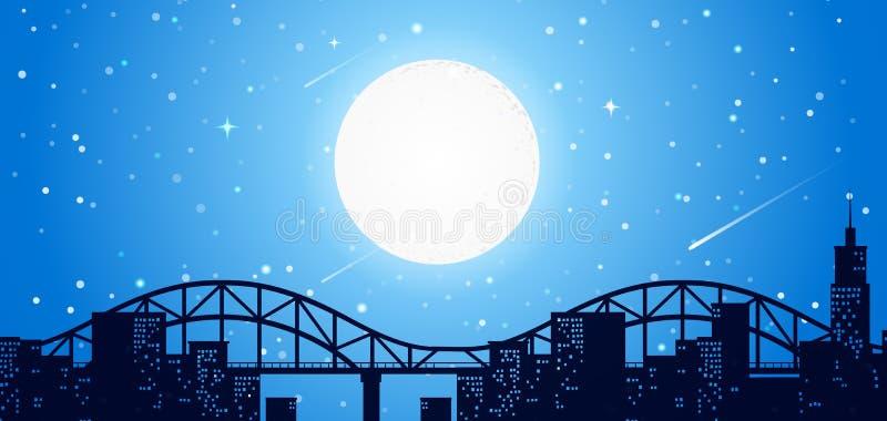 Miasta nieba linia przy nocą ilustracja wektor