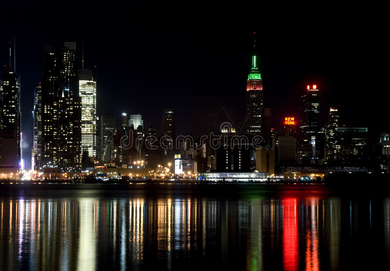 miasta nowa noc linia horyzontu York zdjęcie royalty free