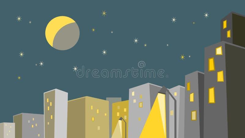 miasta półksiężyc noc deszcz ilustracja wektor