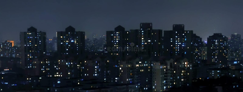 miasta półksiężyc noc deszcz zdjęcie royalty free