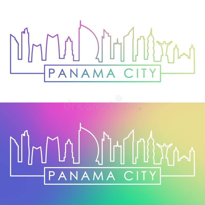 miasta Panama linia horyzontu Kolorowy liniowy styl ilustracji