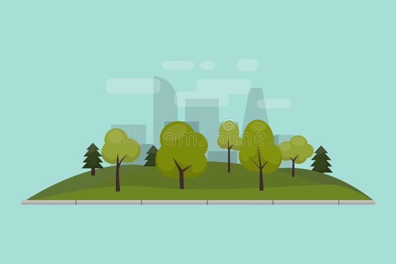Miasta park, gazon i drzewa, Wektorowa ilustracja odosobniony mieszkanie styl Zielony parkowy teren w centrum miasta przeciw ilustracji