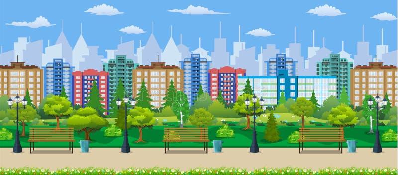 Miasta parkowy pojęcie, drewniana ławka, latarnia uliczna ilustracja wektor