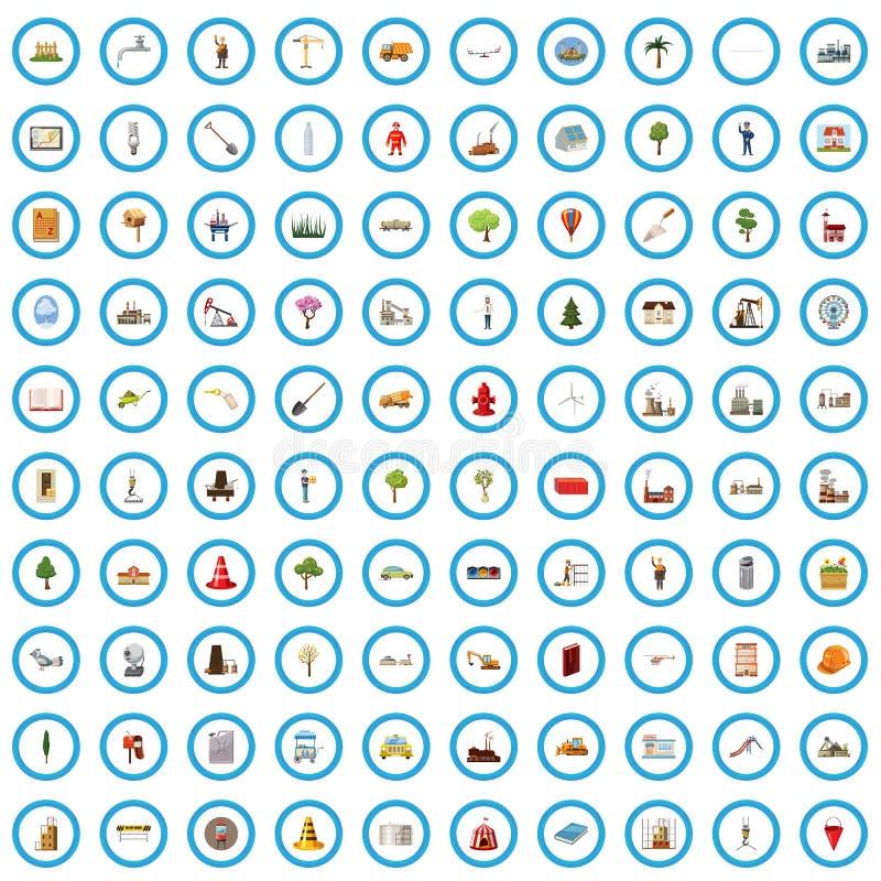 100 miasta planowania ikon ustawiających, kreskówka styl ilustracja wektor