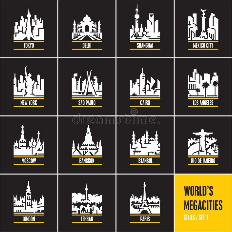 Miasta przy nocą, pejzażu miejskiego, miasto linia horyzontu, miasto sylwetka, megacities, royalty ilustracja