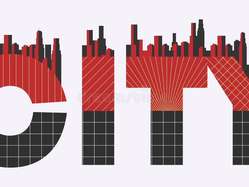 Miasta słowo z geometrycznymi postaciami w stylu Bauhaus plakat retro Typographical sztandar z architekturą wektor royalty ilustracja