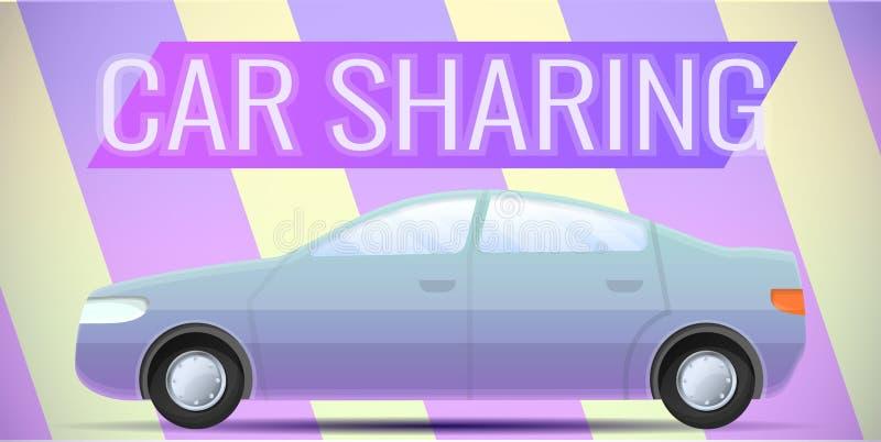 Miasta samochodowego udzielenia pojęcia sztandar, kreskówka styl royalty ilustracja