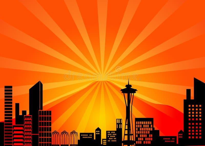 miasta Seattle linia horyzontu Washington ilustracja wektor