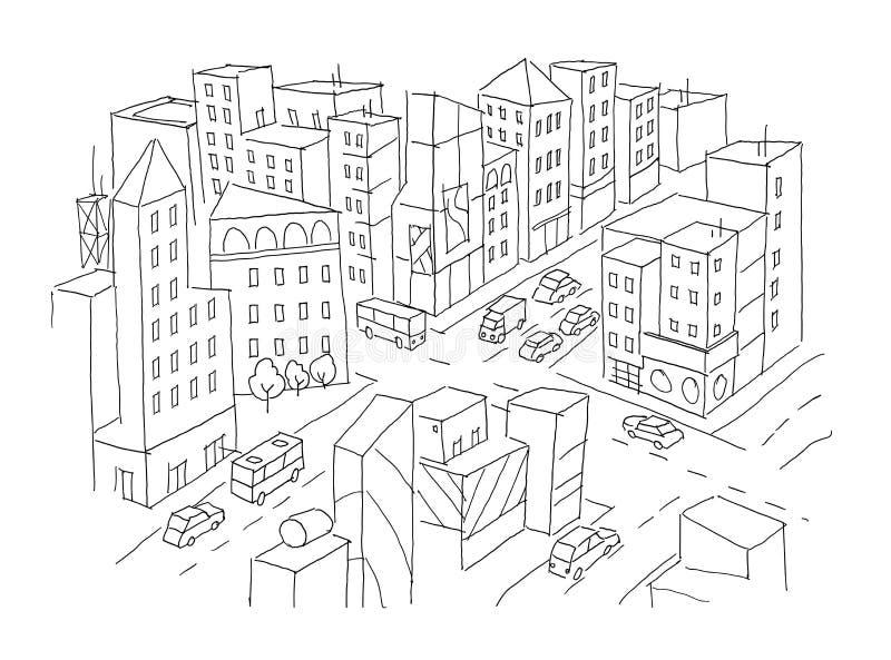 Miasta skrzyżowania uliczny nakreślenie Ruch drogowy drogi widok Samochód końcówki budynków odgórny widok Ręka rysująca wektoru z royalty ilustracja