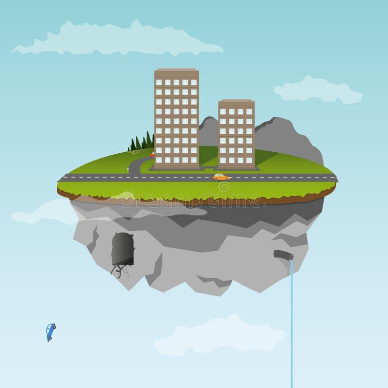 miasta spławowa wyspy część ilustracji
