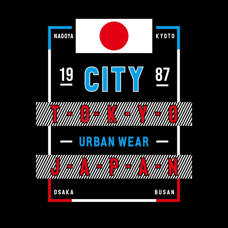 Miasta Tokyo Japan typografii graficzny projekt ilustracji