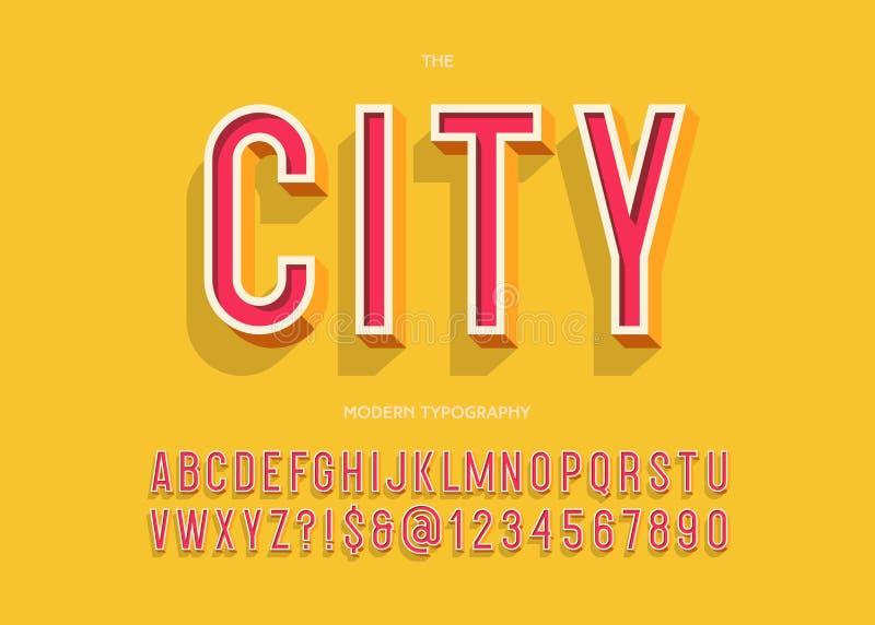 Miasta typeface 3d nowożytnej typografii kolorowy styl royalty ilustracja