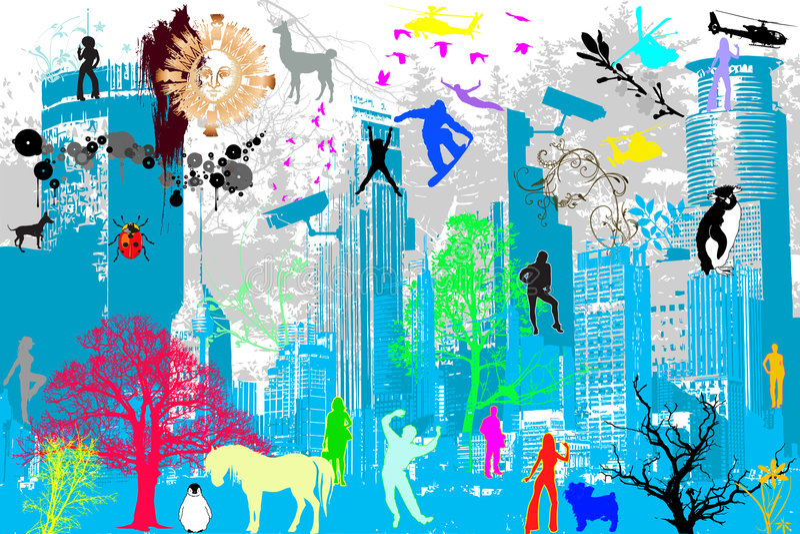 miasta ulicy temat ilustracja wektor