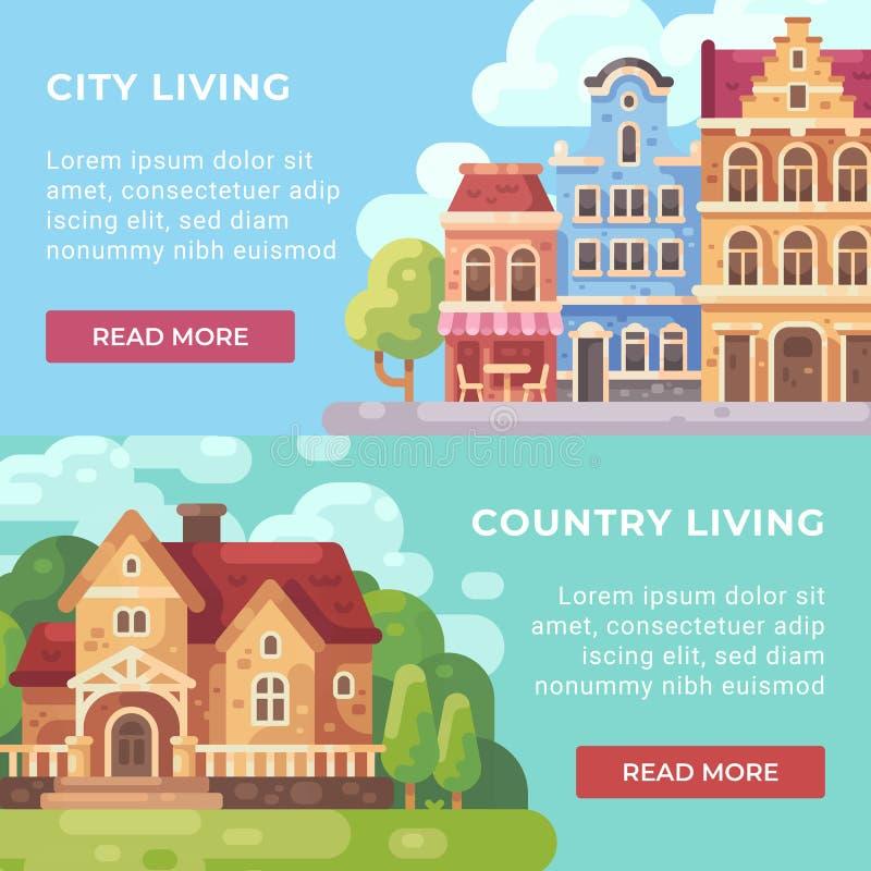 Miasta utrzymanie vs krajów sztandarów mieszkania żywa ilustracja royalty ilustracja