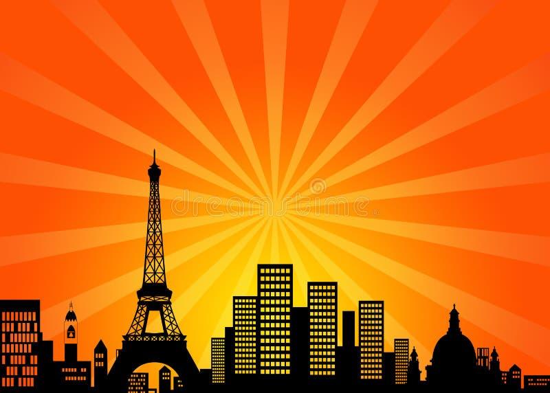 miasta w centrum France Paris linia horyzontu royalty ilustracja