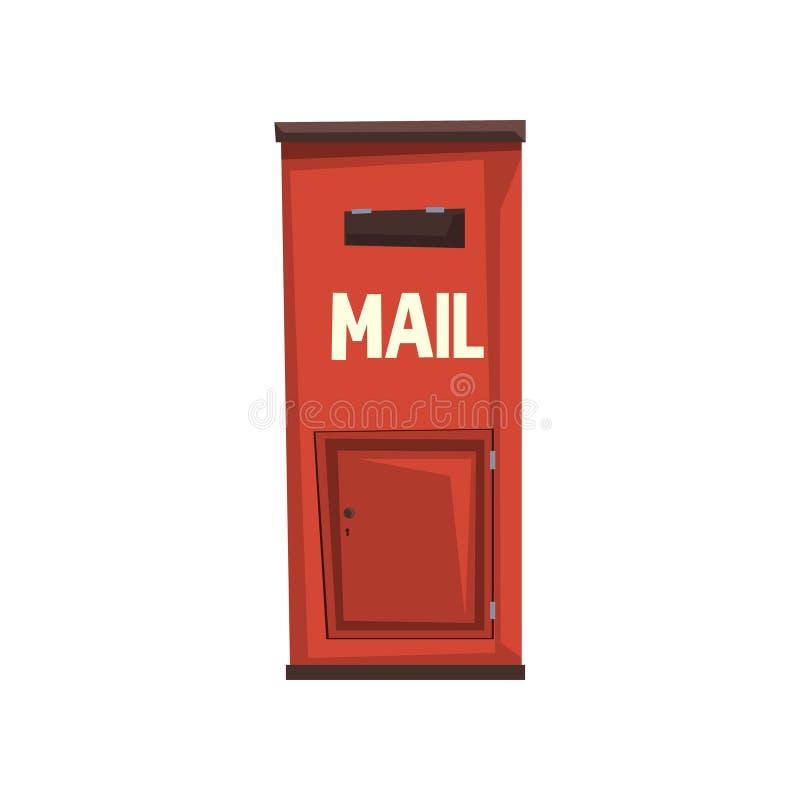 Miasta wiszący postbox dla wysyłać listy Jaskrawa czerwona kruszcowa skrzynka pocztowa Znak dla ludzi komunikaci pojęcia kolorowy ilustracja wektor