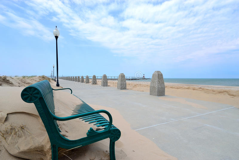 miasta wschodni latarni morskiej Michigan pierhead obraz stock
