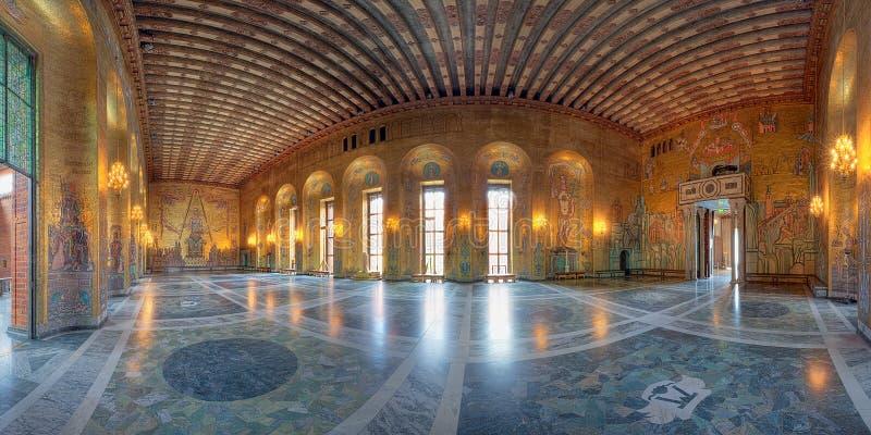 miasta złoty sala pokój Stockholm fotografia royalty free