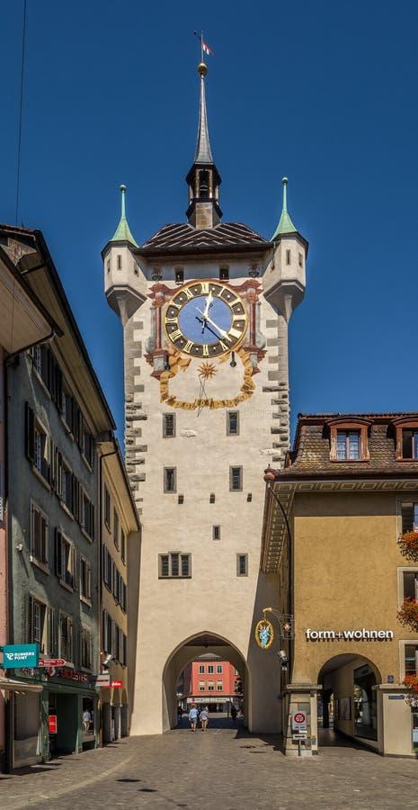 Miasta Zegarowy wierza w Baden, Szwajcaria - zdjęcie stock
