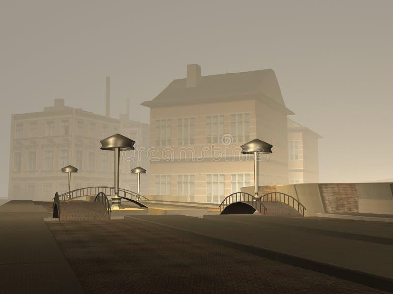 Download Miasta zmroku scena ilustracji. Obraz złożonej z mgłowy - 10608803