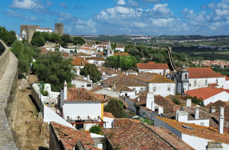 Miasteczko wśród grodowych ścian, Obidos, Portugalia fotografia stock