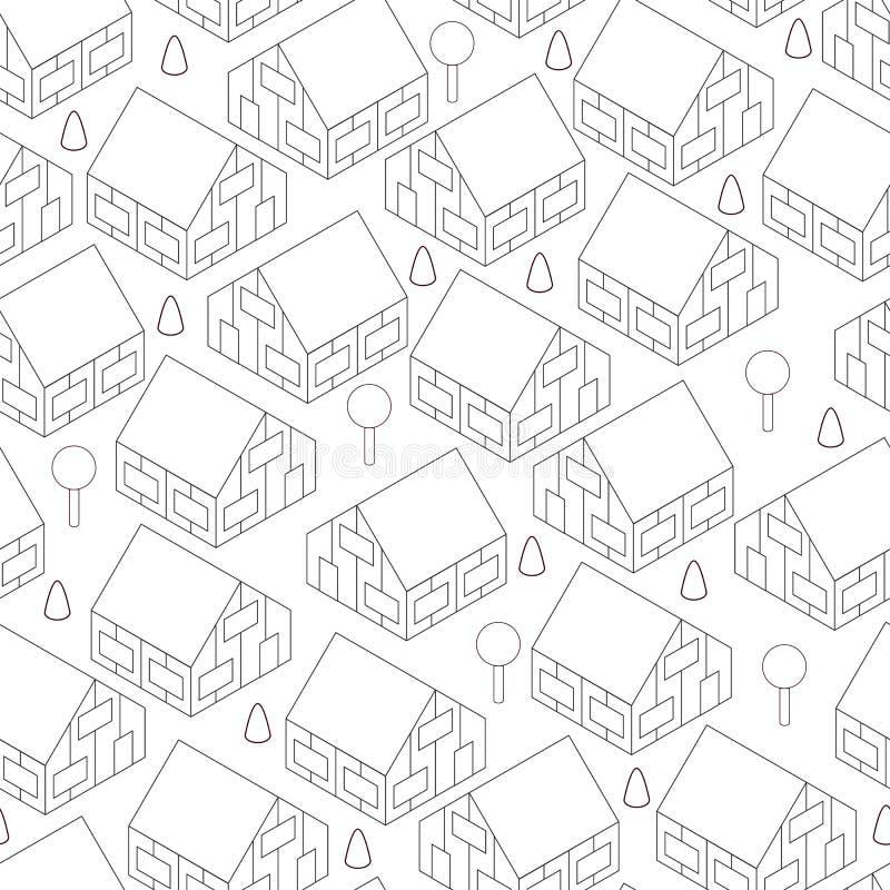 Miasteczko w isometric widoku Kondygnaci wioski domy royalty ilustracja