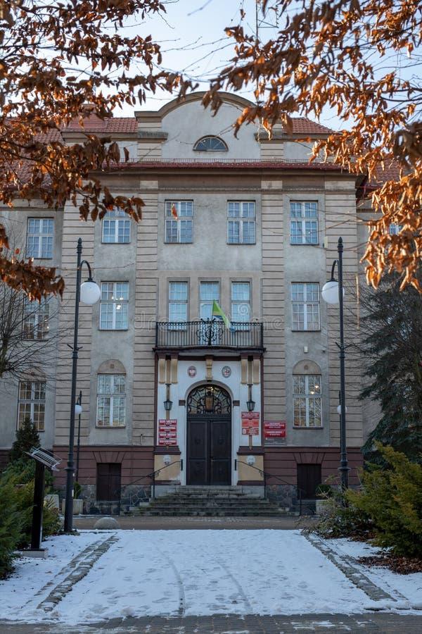 Miastko, Pomorskie / Poland - January, 30, 2019: Town Hall, the seat of the municipal authorities in the town of Miastko. In Pomerania royalty free stock photo