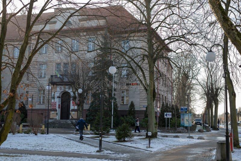 Miastko, Pomorskie / Poland - January, 30, 2019: Town Hall, the seat of the municipal authorities in the town of Miastko. In Pomerania royalty free stock images