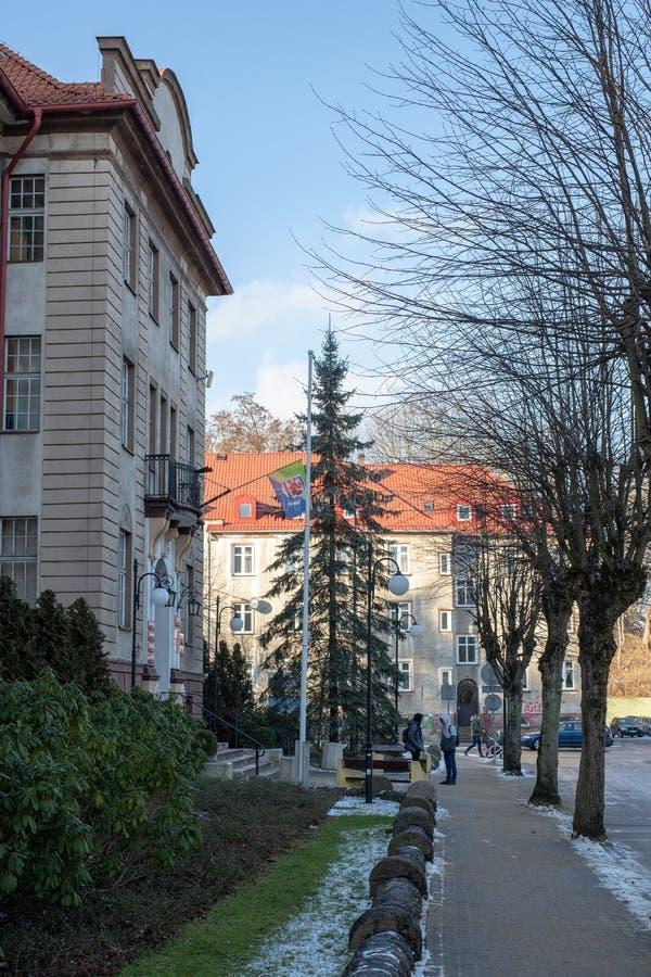 Miastko, Pomorskie / Poland - January, 30, 2019: Town Hall, the seat of the municipal authorities in the town of Miastko. In Pomerania stock photo