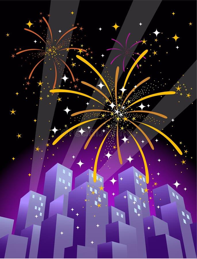 miasto 2 fajerwerki format nad skyline pionowe royalty ilustracja