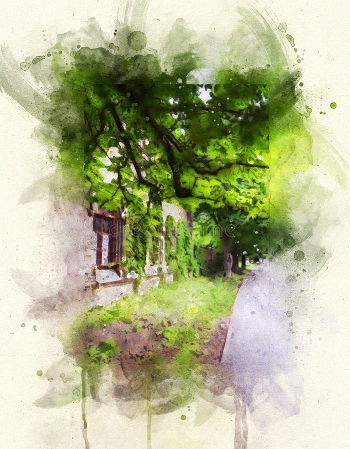 Miasto aleja z lat drzewami, stary dom ilustracja wektor