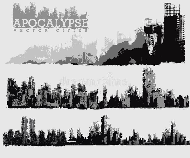 Miasto apokaliptyczna ilustracja ilustracja wektor