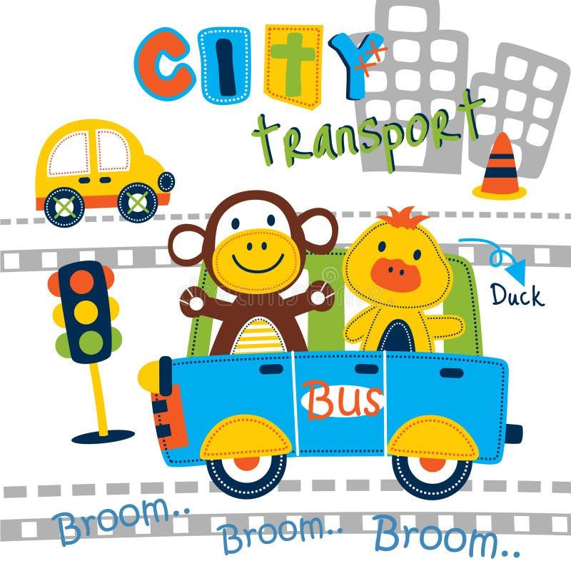 Miasto autobusowa śmieszna zwierzęca kreskówka, wektorowa ilustracja ilustracji