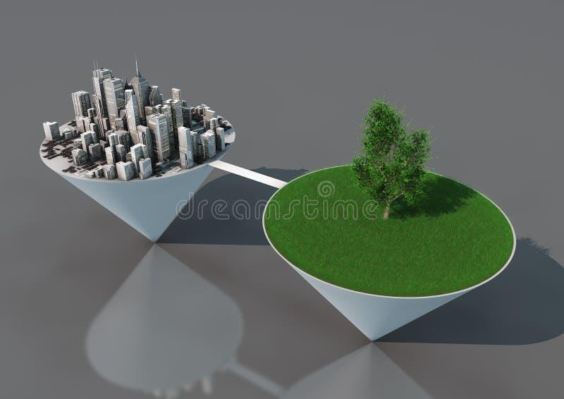 miasto balansowa natura ilustracji