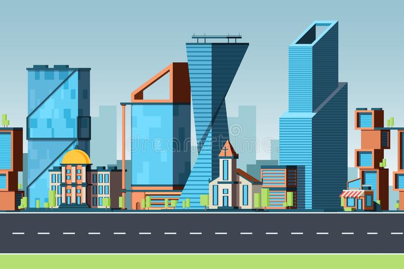 miasto bezszwowy Miastowy krajobraz z budynkami i biurowymi pejzażami miejskimi z ulicznej ruch drogowy wektorowej panoramy gry 2 ilustracji