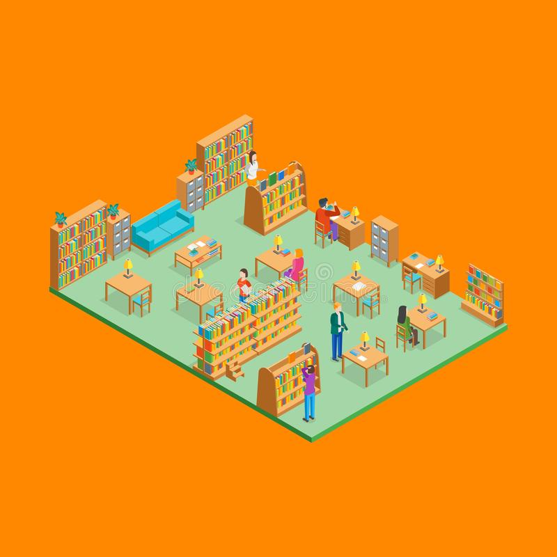 Miasto biblioteki wnętrze z Meblarskim Isometric widokiem wektor ilustracja wektor