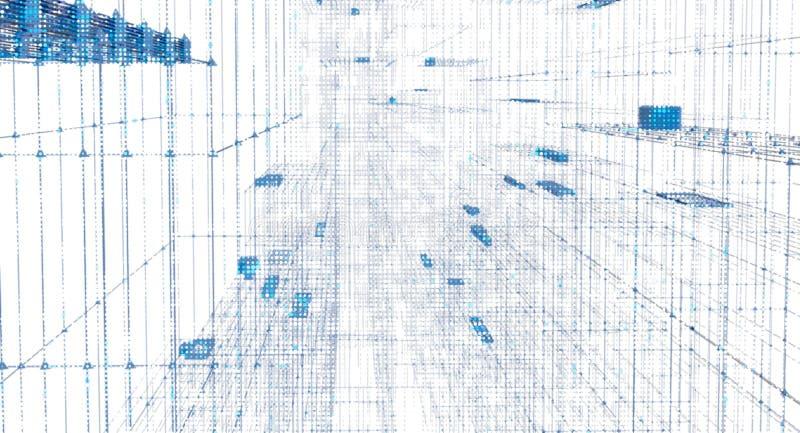 miasto binarnego nocy cyfrowy tunelu royalty ilustracja