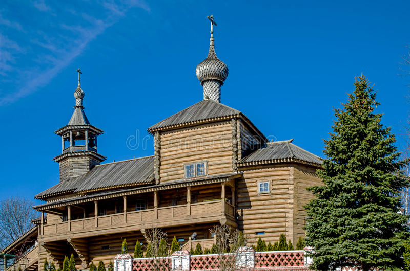 Miasto Borovsk, drewniany kościół obraz stock