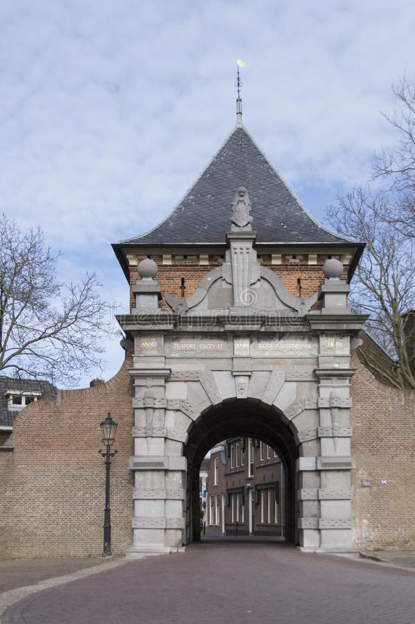Miasto brama Veerpoort w Schoonhoven holandie obrazy royalty free