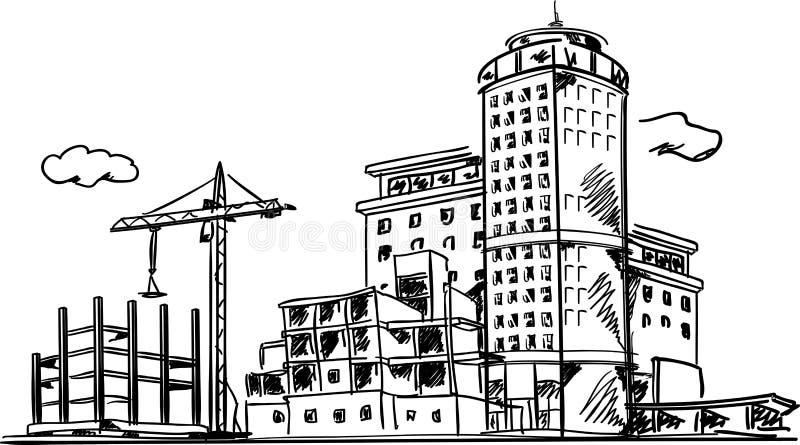 Miasto budowy nakreślenie royalty ilustracja