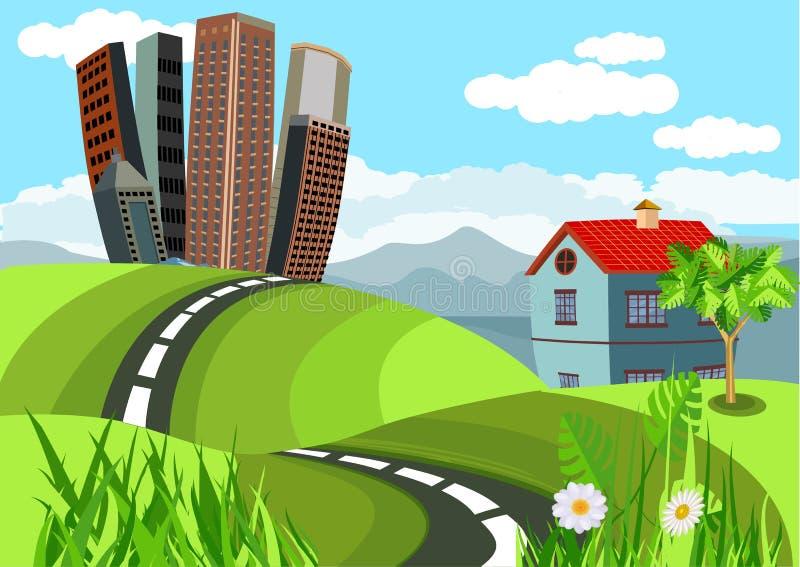Miasto budynki i chałupa domy w zielonych wzgórzach czyścą zielonego invironment, wieś, royalty ilustracja