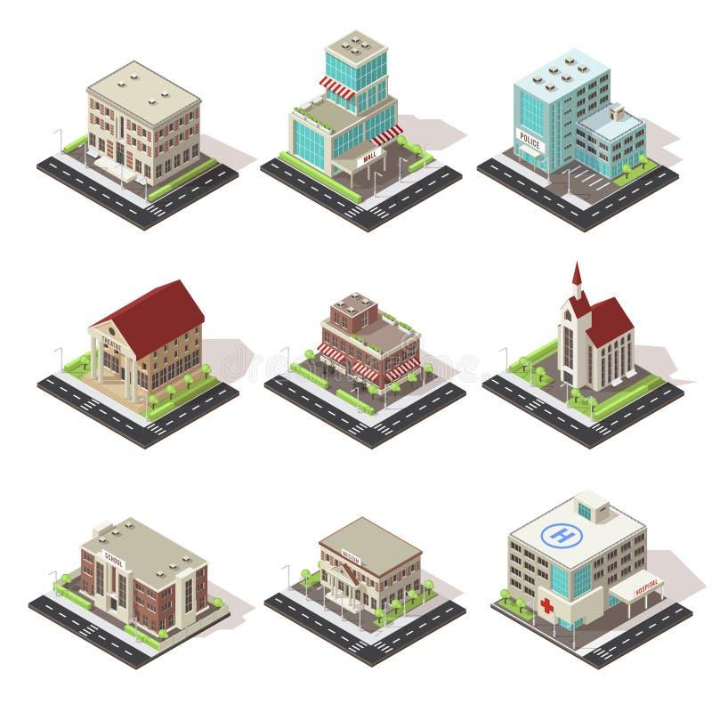 Miasto budynki I droga Isometric set ilustracja wektor