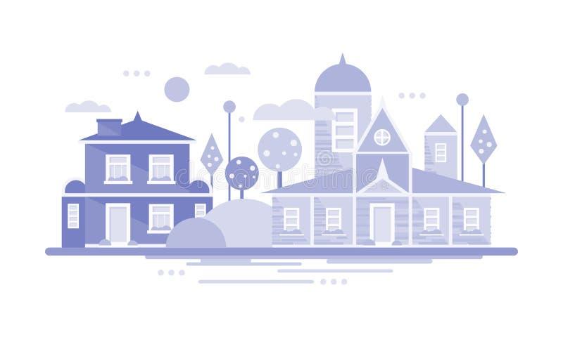 Miasto budynku domy, horyzontalny sztandar lub plakat, miasteczko lub wioska, nieruchomość wektoru ilustracja ilustracji