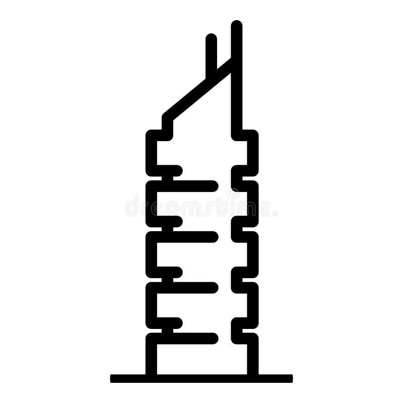 Miasto budynku ikona, konturu styl royalty ilustracja