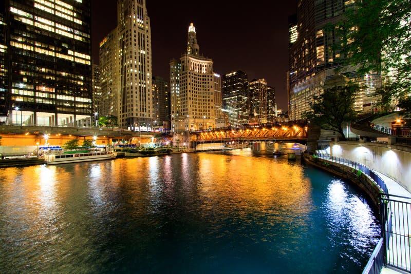 Miasto Chicago przy nocą fotografia royalty free