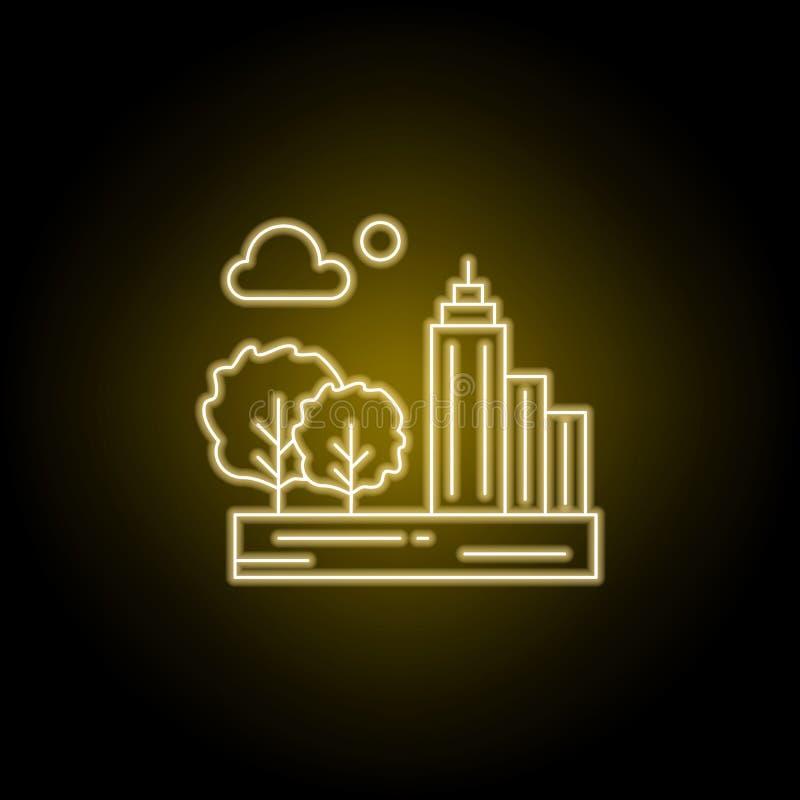 Miasto, chmura, księżyc, drzewnej linii ikona w żółtym neonowym stylu Element krajobrazy ilustracyjni Znaki i symbole wykładają i ilustracji